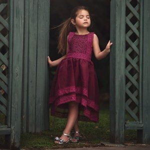 Trish Scully Child Berry Delphine Lace Party Dress